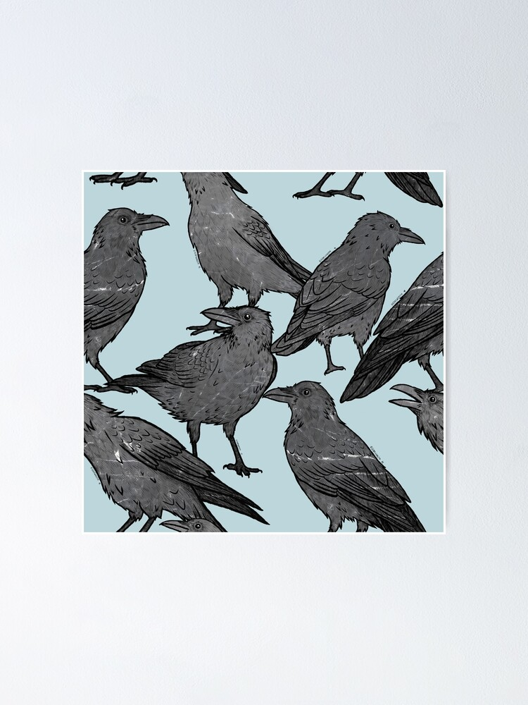 Alternate view of Cute crow pattern Poster