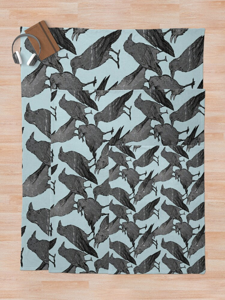 Alternate view of Cute crow pattern Throw Blanket
