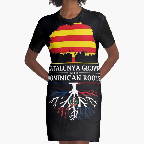 Catalunya Grown With Dominican Roots Design Graphic T-Shirt Dress