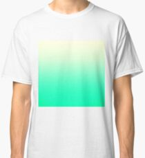 Trendy Teal to Vintage White Ombre Gradient Classic T-Shirt
