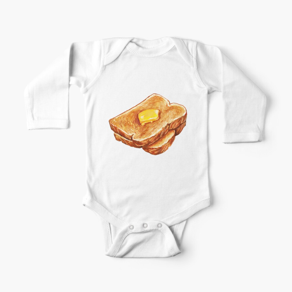 Buttered Toast Pattern Baby One-Piece