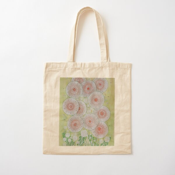 Make a Wish - Contemporary painting of dandelion flowers with green leaves Cotton Tote Bag