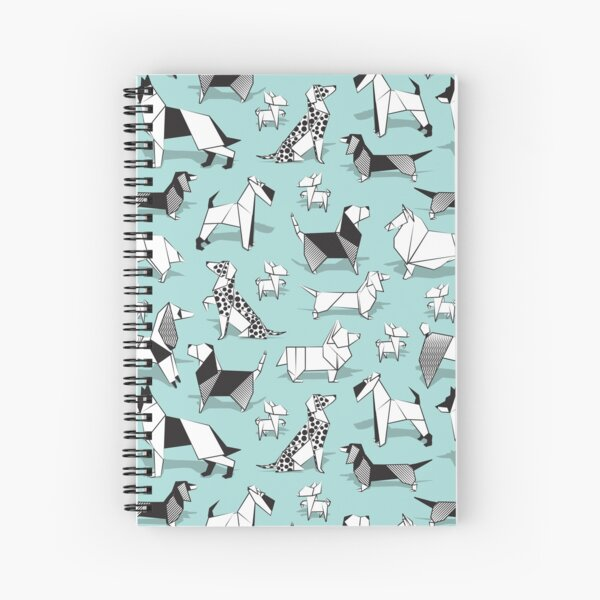 Origami doggie friends // aqua background paper Chihuahuas Dachshunds Corgis Beagles German Shepherds Collies Poodles Terriers Dalmatians Spiral Notebook