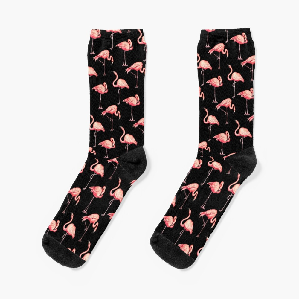 Flamingo Pattern - Black Socks