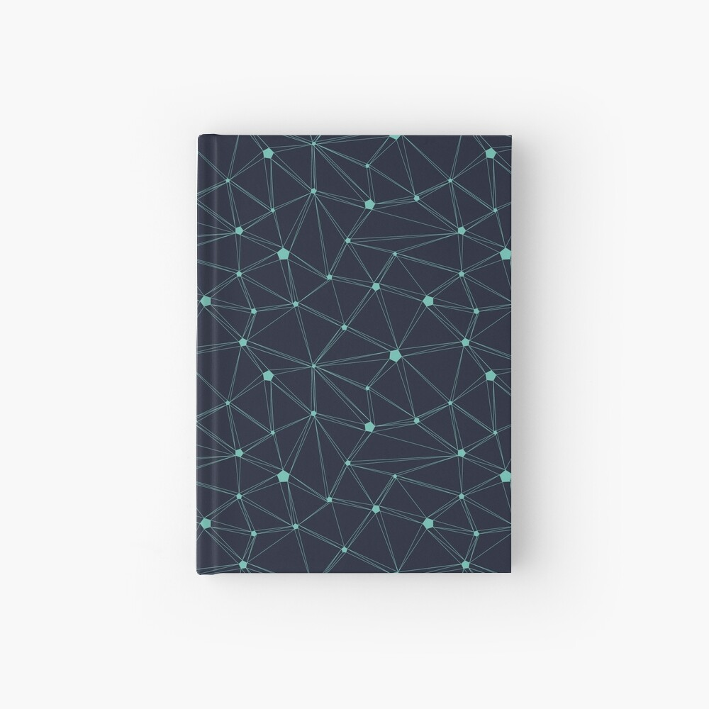 Pentagon grid navy and turquoise Hardcover Journal