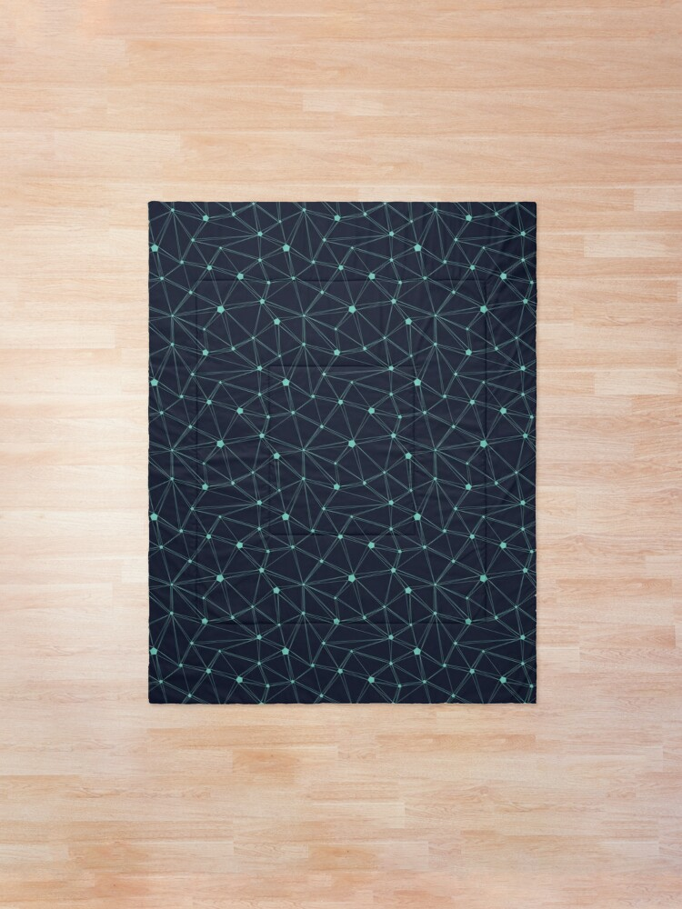 Alternate view of Pentagon grid navy and turquoise Comforter