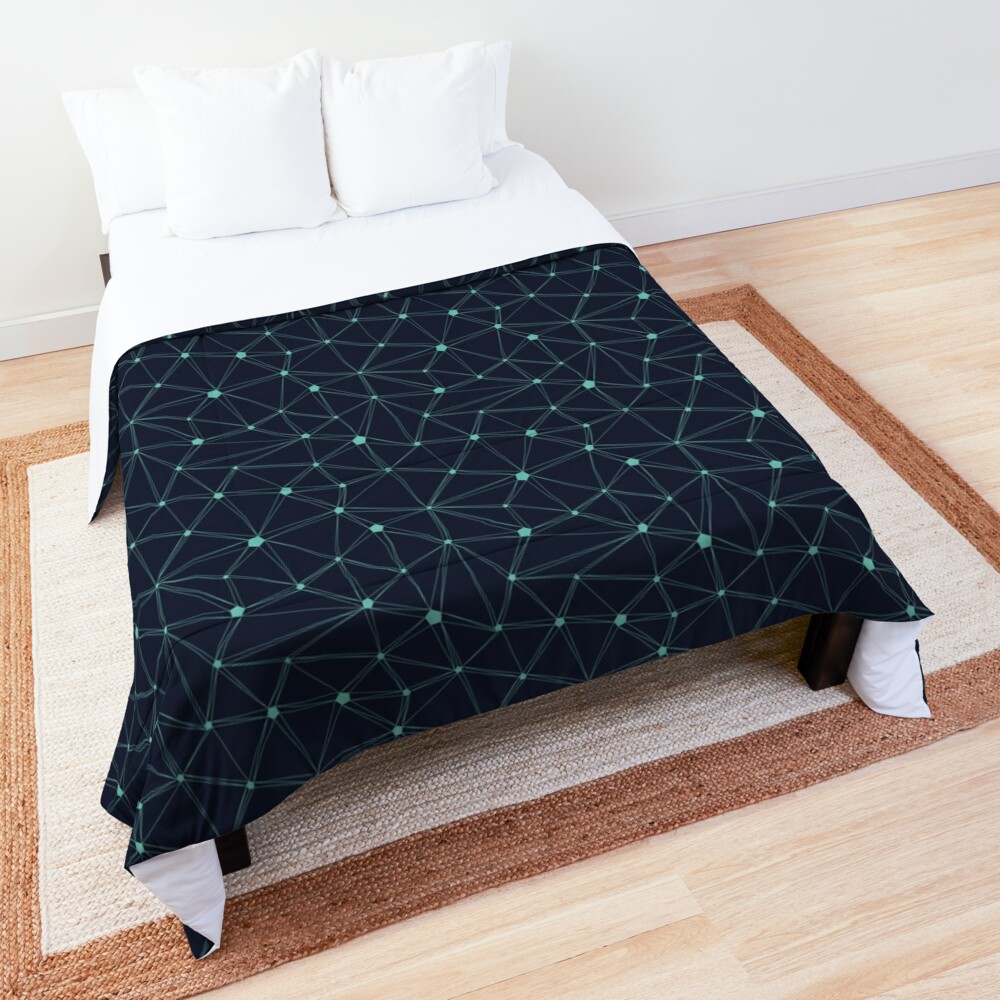 Pentagon grid navy and turquoise Comforter