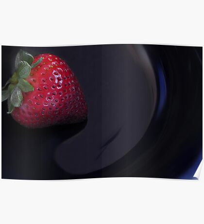 Strawberry in a blue bowl Poster