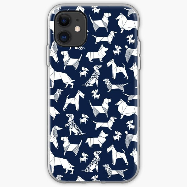 Origami doggie friends // oxford blue background paper Chihuahuas Dachshunds Corgis Beagles German Shepherds Collies Poodles Terriers Dalmatians iPhone Soft Case