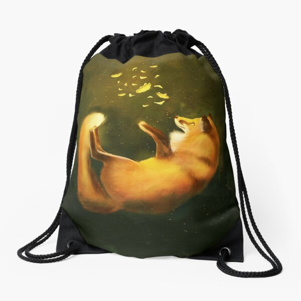 Dreamy illustration of a fox with butterflies Drawstring Bag