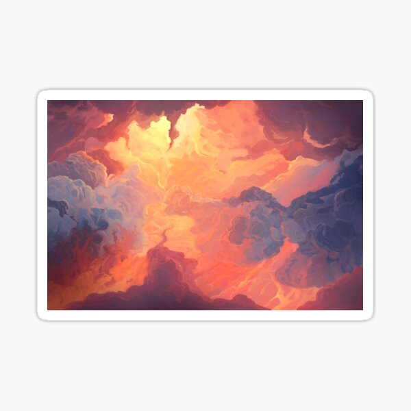 Illustration of fiery sky, sunset. Digital painting. Sticker