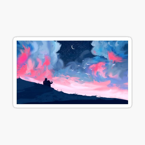 Loving couple looking at the pink sky. Couple sitting on a hill at night. Digital art Sticker