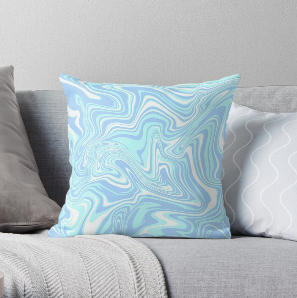 Pale Blue Abstract Swirl Throw Pillow