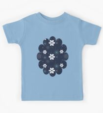 Dark Blue White Flowers Kids Clothes