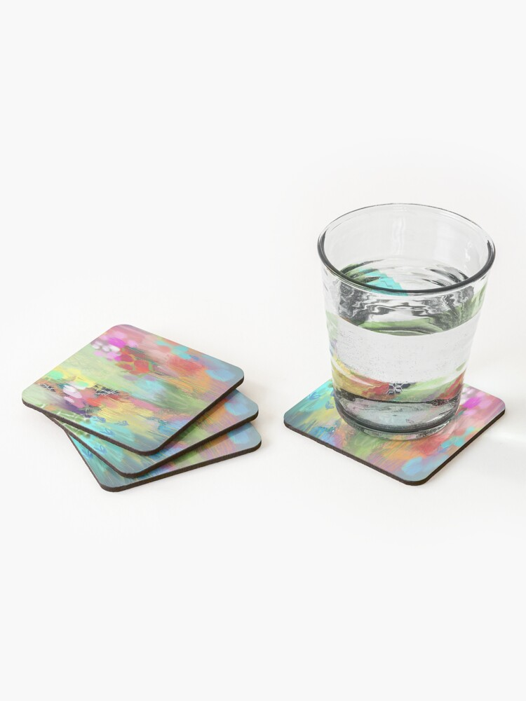 Alternate view of Red Flower Candy Meadow Coasters (Set of 4)