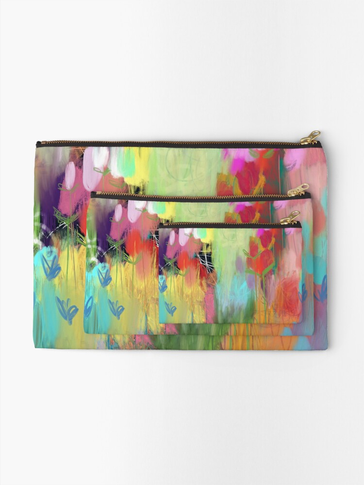 Alternate view of Red Flower Candy Meadow Zipper Pouch