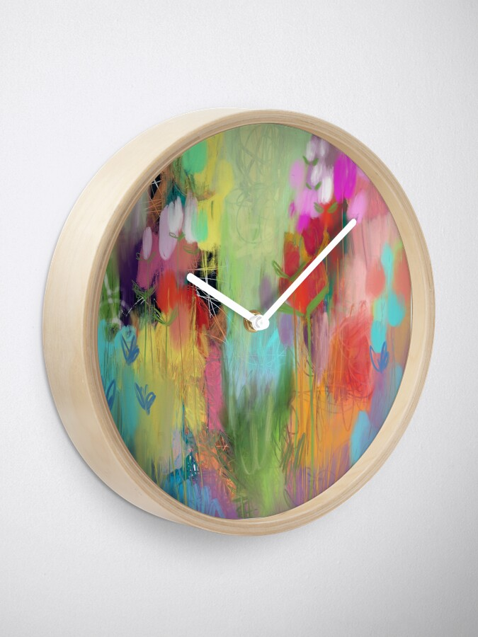 Alternate view of Red Flower Candy Meadow Clock