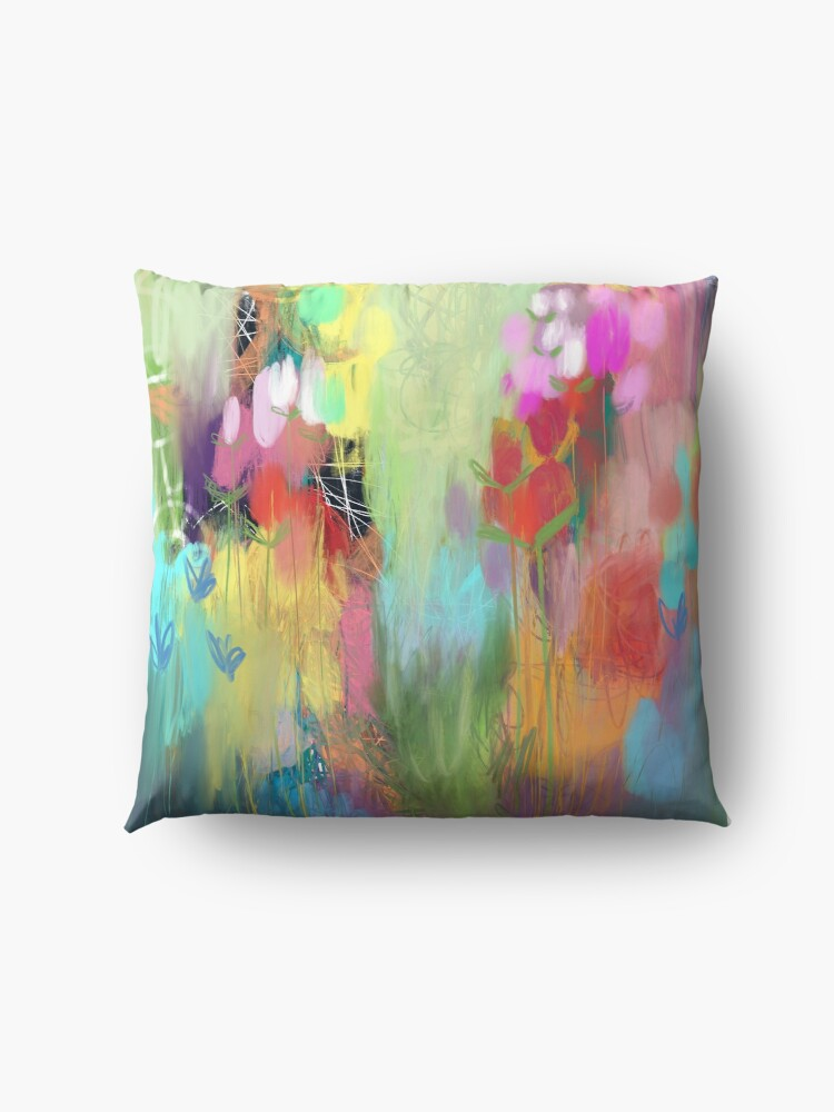 Alternate view of Red Flower Candy Meadow Floor Pillow