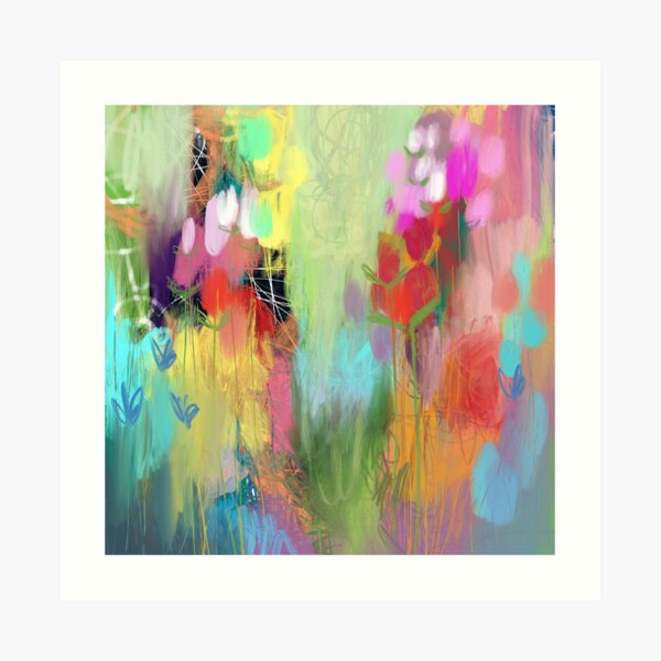 Red Flower Candy Meadow Art Print