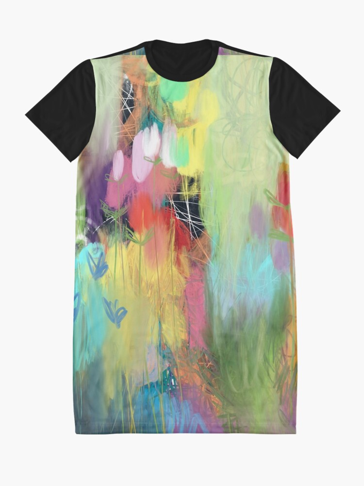 Alternate view of Red Flower Candy Meadow Graphic T-Shirt Dress