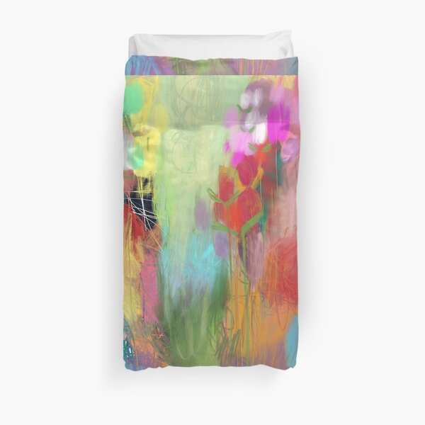 Red Flower Candy Meadow Duvet Cover
