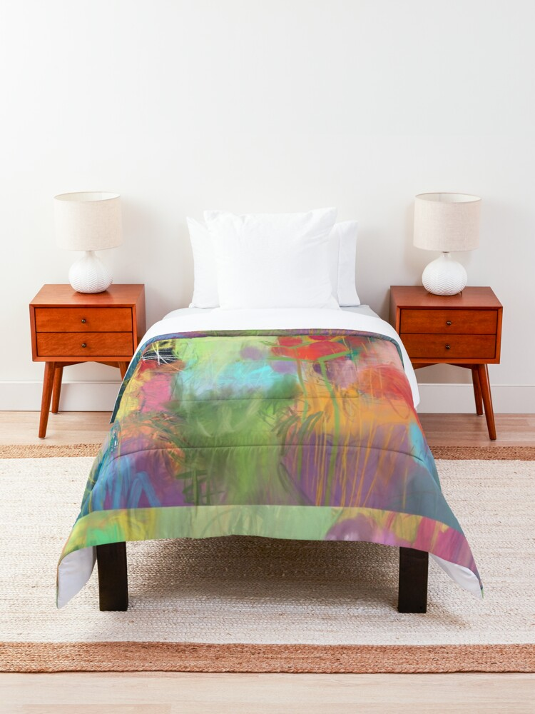 Alternate view of Red Flower Candy Meadow Comforter