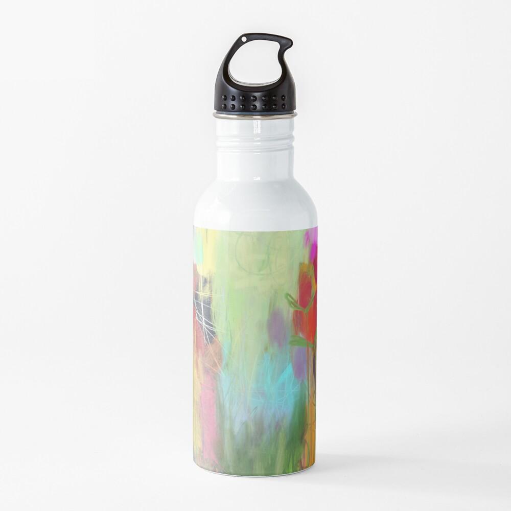 Red Flower Candy Meadow Water Bottle
