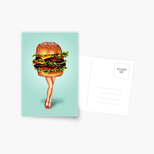 """Stacked"" - Cheeseburger Girl Postcard"