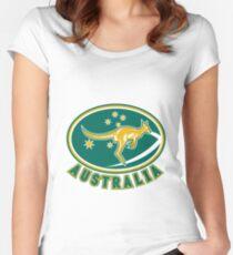 Rugby Wallabies Kangaroo Australia Women's Fitted Scoop T-Shirt