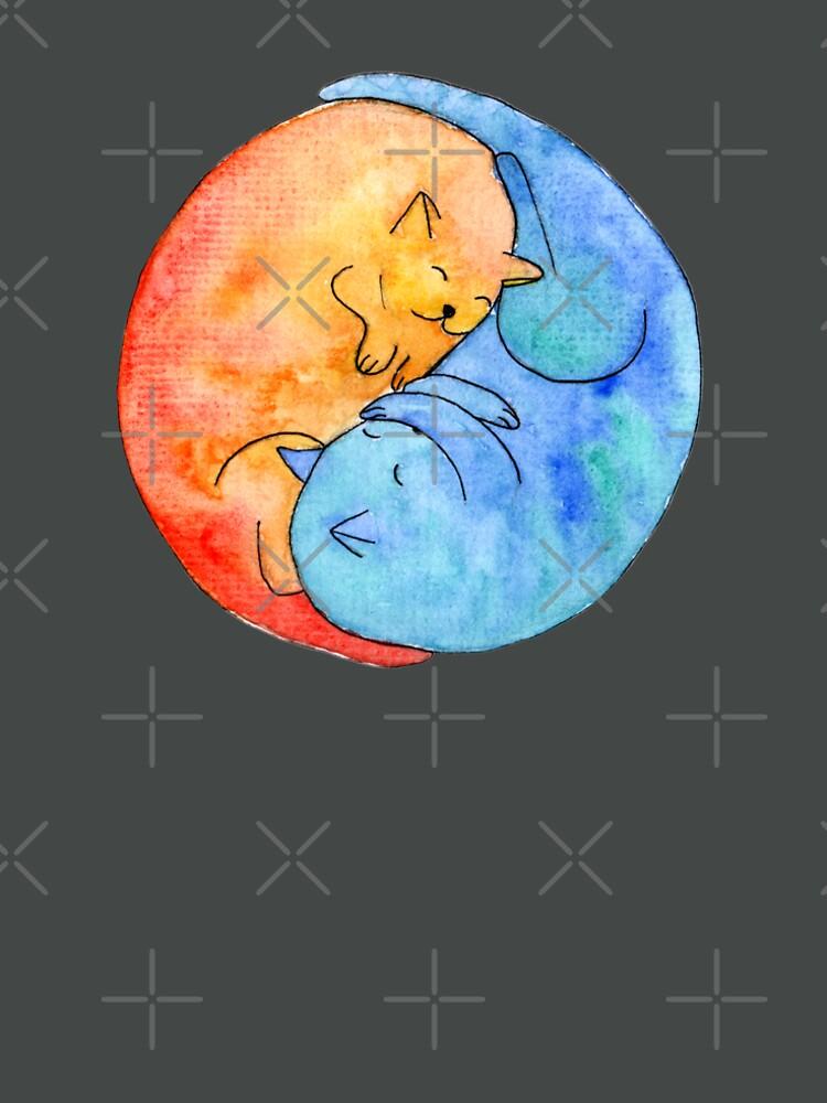 cat friends yin yang watercolor by nobelbunt