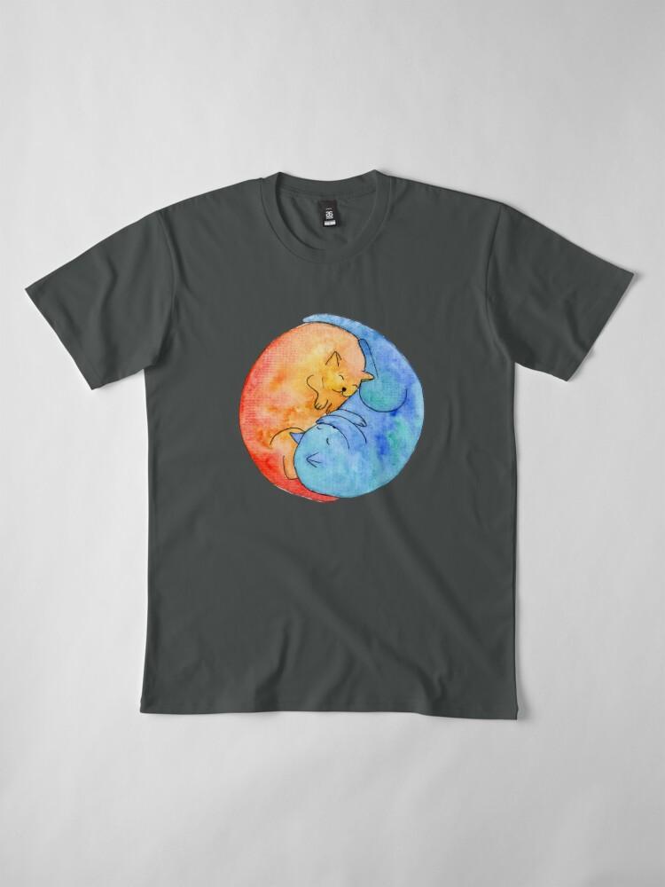 Alternate view of cat friends yin yang watercolor Premium T-Shirt
