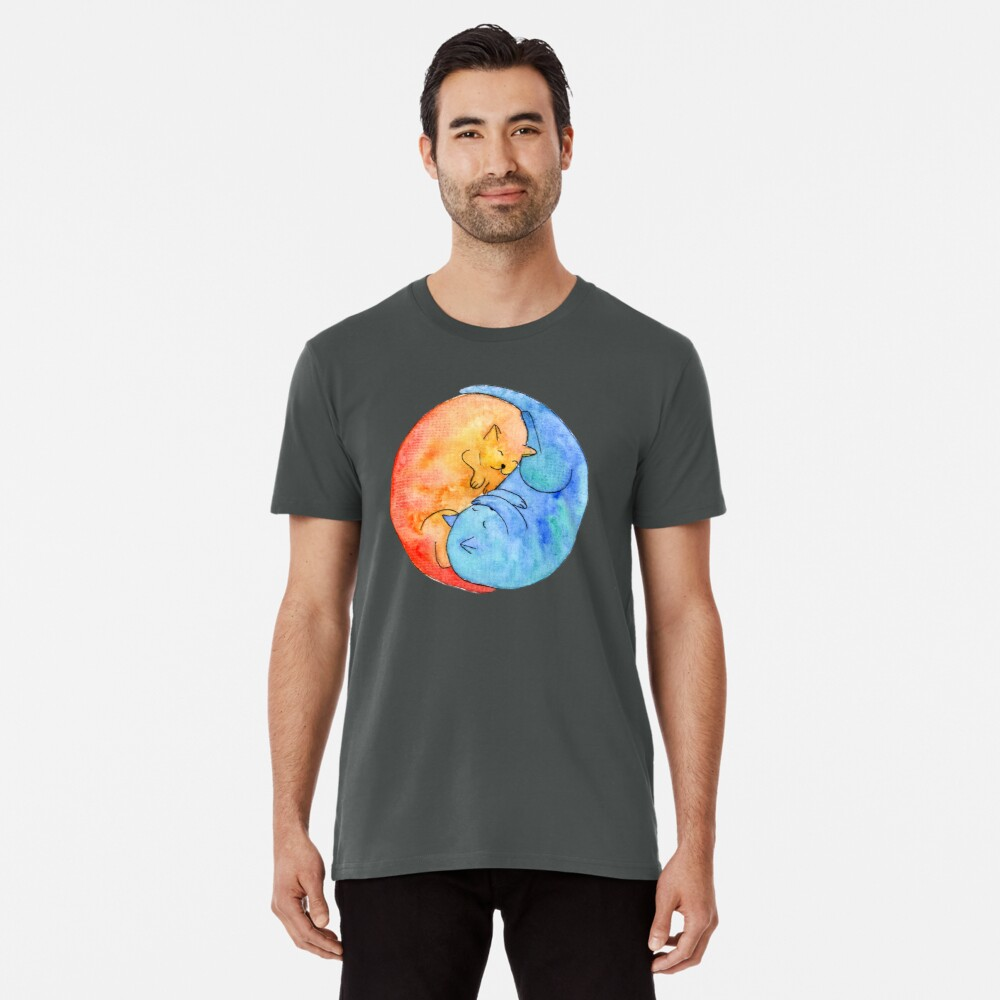 cat friends yin yang watercolor Premium T-Shirt