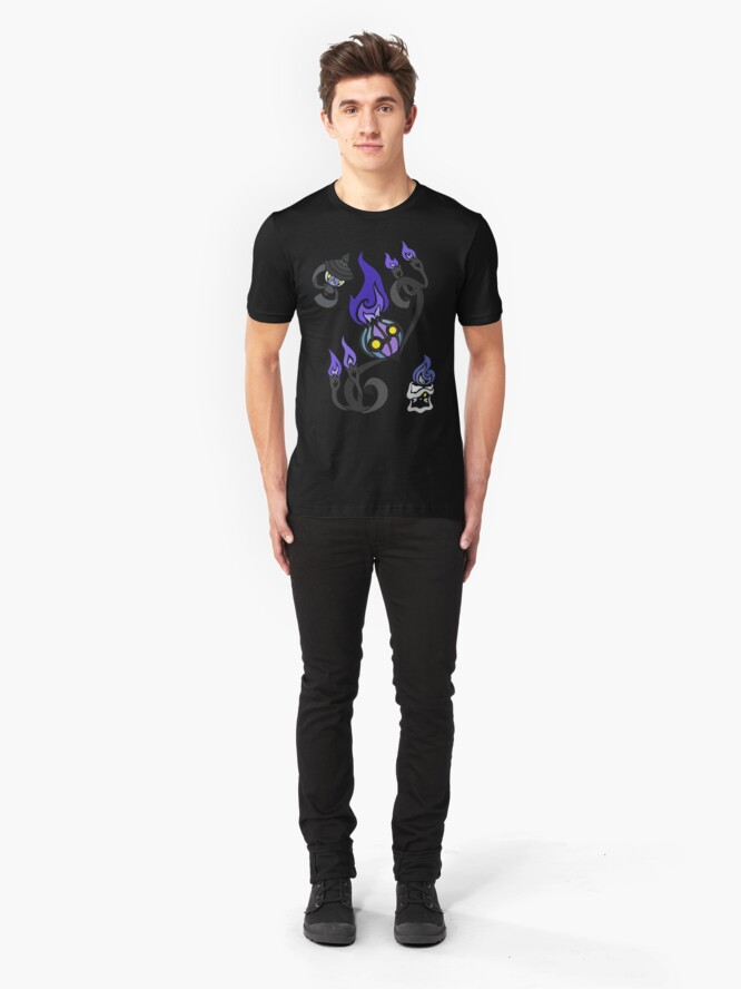 Alternate view of Flames of the Forgotten - Chandelure, Lampent and Litwick Slim Fit T-Shirt