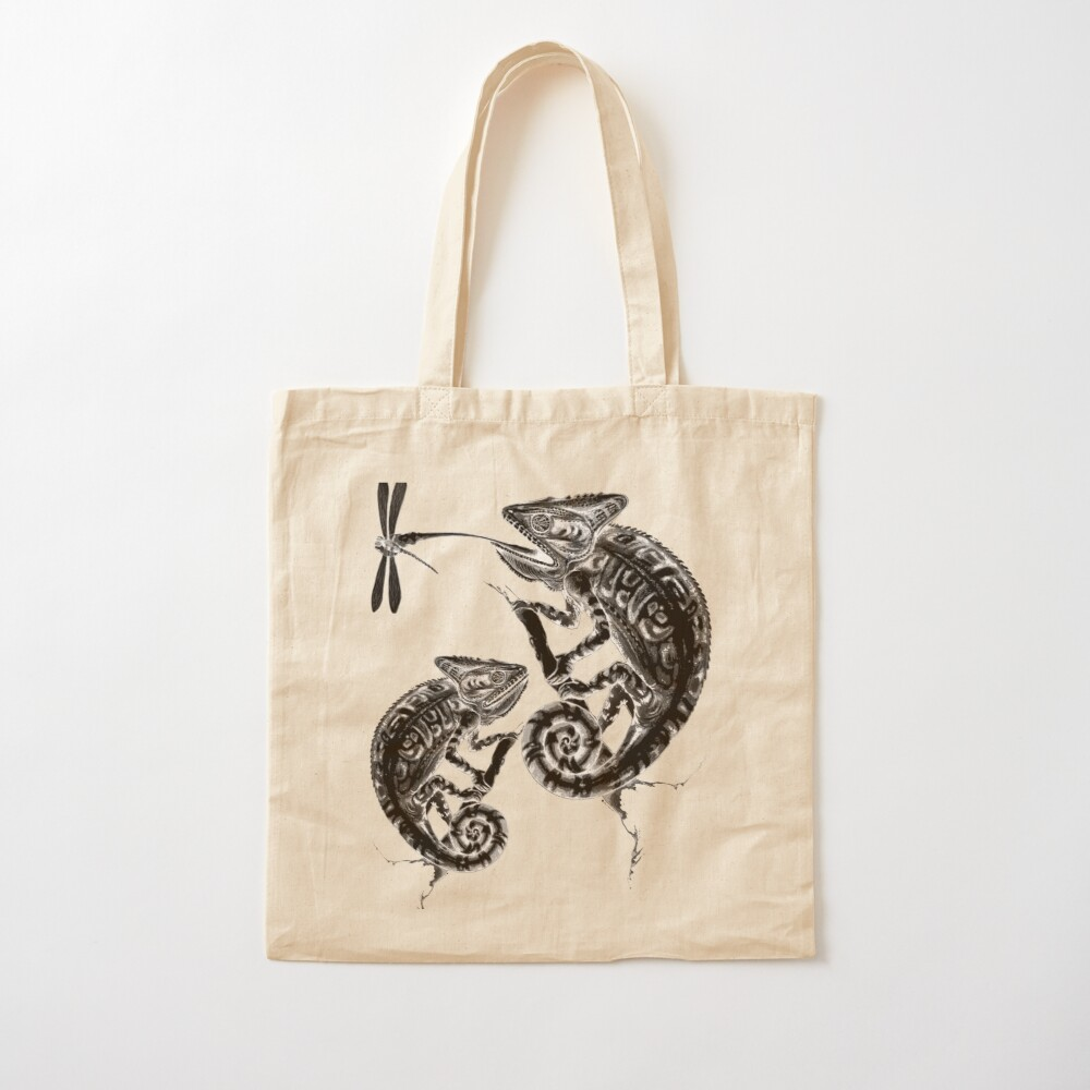 Catch - Chameleon and Dragonfly Inktober 2019 Cotton Tote Bag