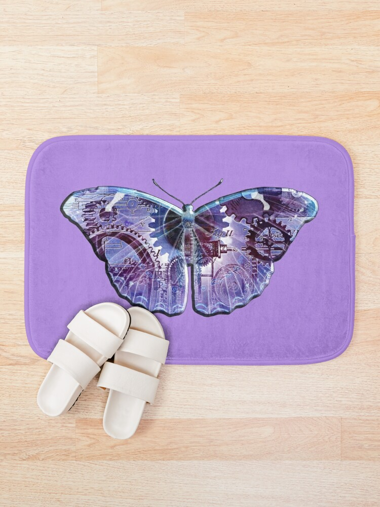 Alternate view of Steampunk Butterfly - Blue and Purple Bath Mat