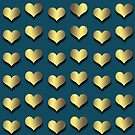 Golden Hearts on Navy Blue by Cherie Balowski