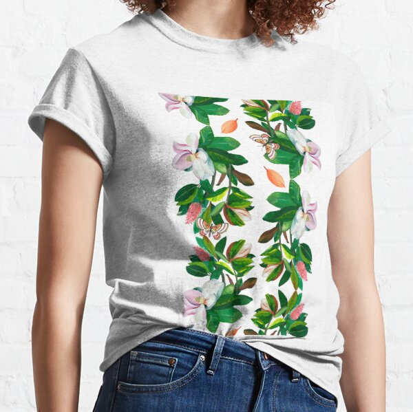 Reflected Magnolia with Butterflies Classic T-Shirt