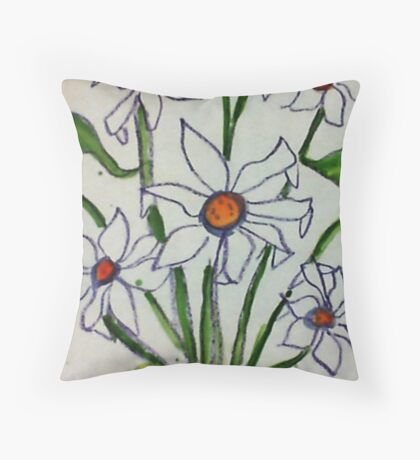 Bouquet of white flowers in watercolor Throw Pillow