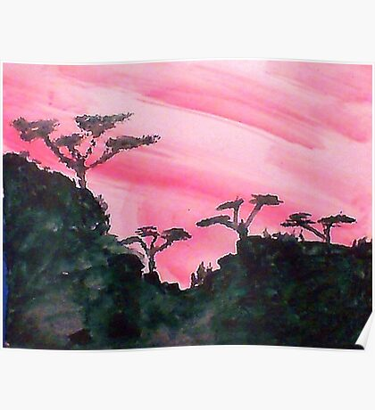Africa series of pink sunset with trees on hill in black , watercolor Poster