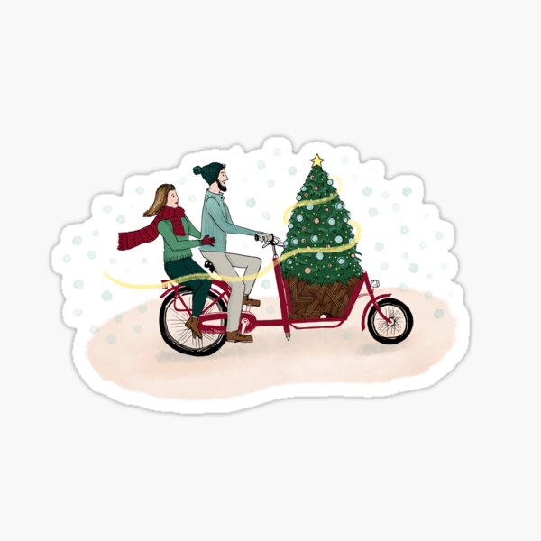 Bakfiets Kerstboom | Cargo Bike Christmas Tree Sticker