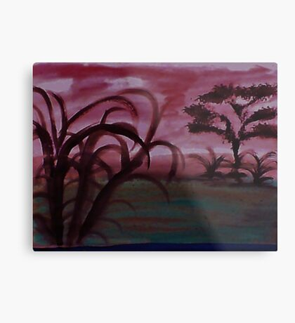 Africa Series, with tree and more undergrowth, watercolor Metal Print