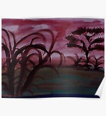 Africa Series, with tree and more undergrowth, watercolor Poster