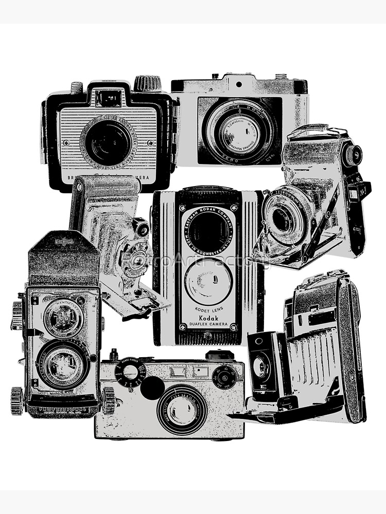Vintage Camera Collage in Reverse Print by RetroArtFactory