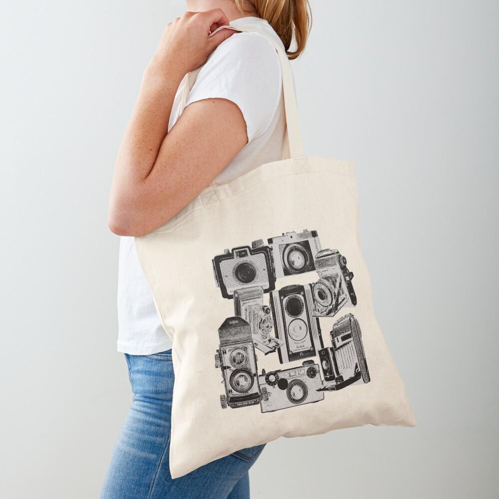 Vintage Camera Collage in Reverse Print Tote Bag