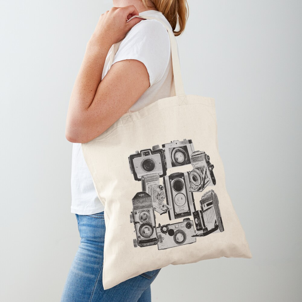 Vintage Camera Collage in Reverse Print Tote Bag