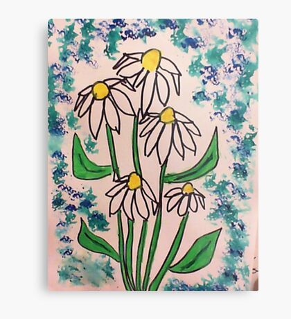 Vintage look with white daisey  in watercolor  Metal Print