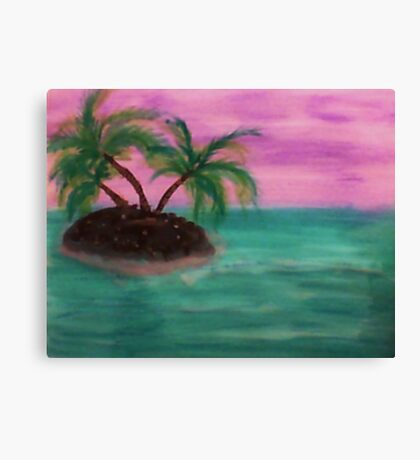 Tiny Island in the middle of the ocean,with palm trees,  in watercolor Canvas Print