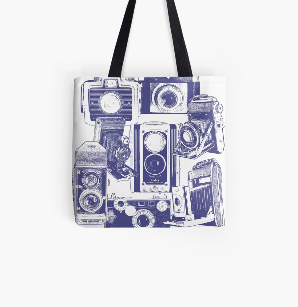 Vintage Camera Collage in Blue All Over Print Tote Bag