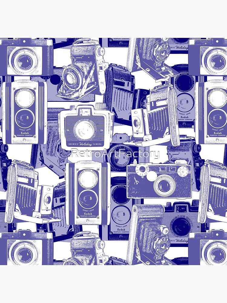 Vintage Camera Pattern in Blue by RetroArtFactory