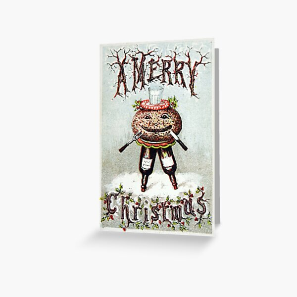 Victorian Christmas Pudding Greeting Card